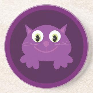 Cute Cartoon Cat Customizable Purple Beverage Coasters