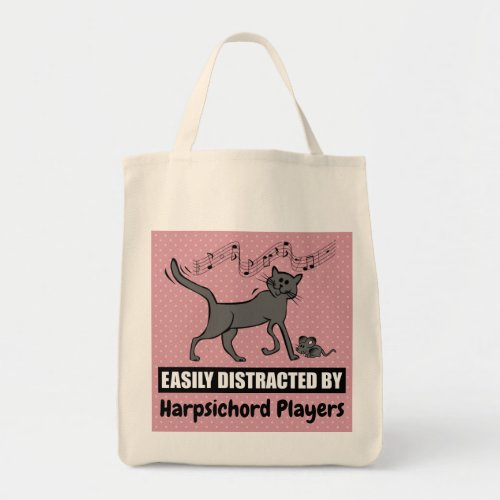 Cute Cartoon Cat Distracted by Harpsichord Players Grocery Tote Bag