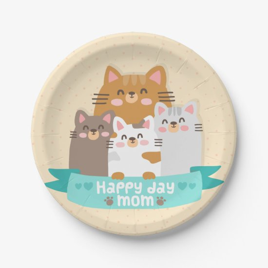 Cute cartoon cat family happy mother's day paper plate