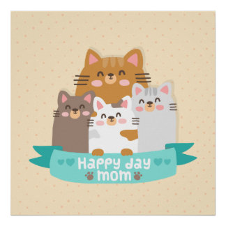 Cute cartoon cat family happy mother's day poster