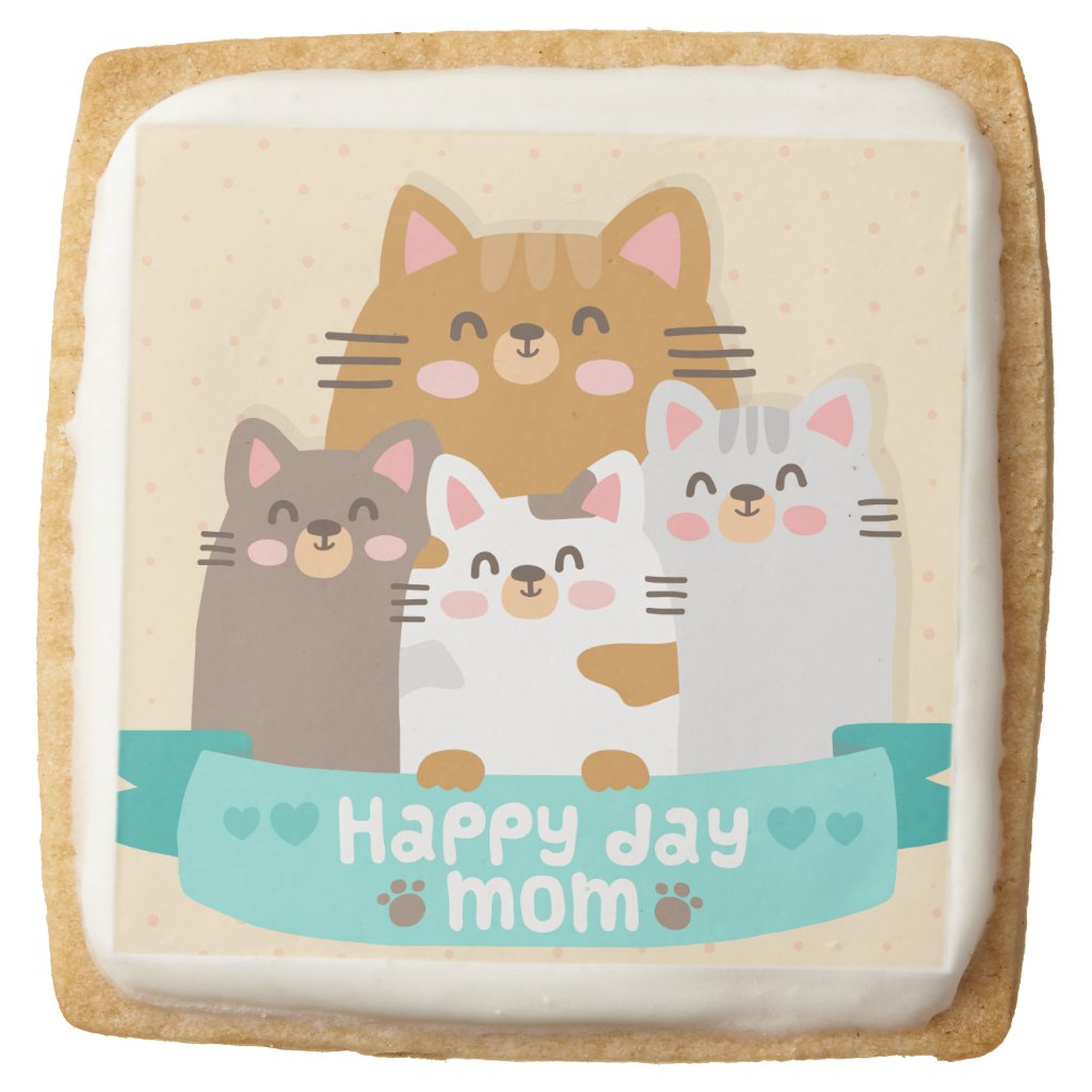 Cute cartoon cat family happy mother's day square shortbread cookie