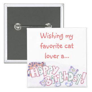 Cute Cartoon Cat Happy Birthday Pinback Button