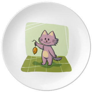 Cute Cartoon Cat Holding Mouse Porcelain Plate