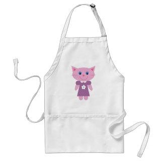 Cute cartoon cat in a purple dress apron