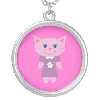 Cute Cartoon Cat In Lilac Dress Pink Custom Round Pendant Necklace