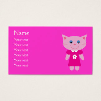 Cute Cartoon Cat In Pink Dress Customizable Business Card