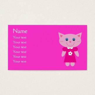 Cute Cartoon Cat In Pink Dress Customizable Business Card