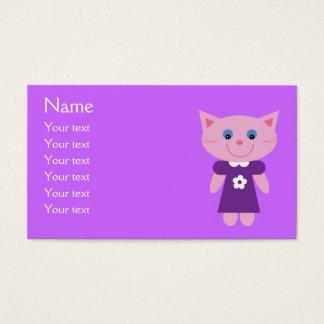 Cute Cartoon Cat In Purple Dress Custom Lilac Business Card