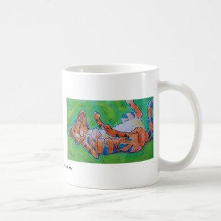 Cute cartoon cat lying on back coffee mug