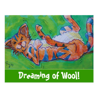 Cute cartoon cat lying on back postcard