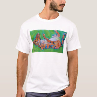 Cute cartoon cat lying on back T-Shirt