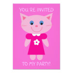 Cute Cartoon Cat Pretty Pink Birthday Party Invite