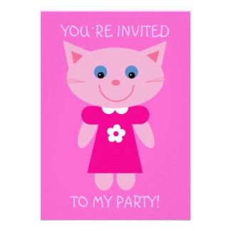 Cute Cartoon Cat Pretty Pink Birthday Party Invite