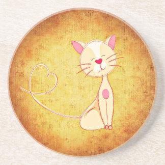 Cute Cartoon Cat Sandstone Coaster