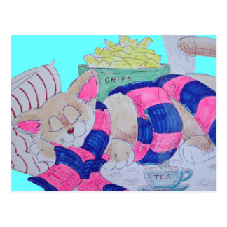 Cute cartoon cat sleeping while wearing scarf... postcard