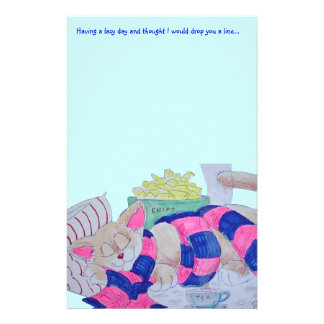 Cute cartoon cat sleeping while wearing scarf... customized stationery