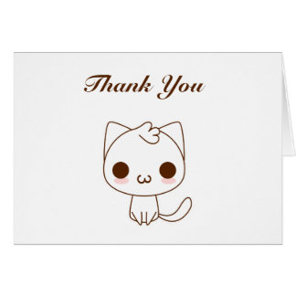 Cute Cartoon Cat Thank You Card