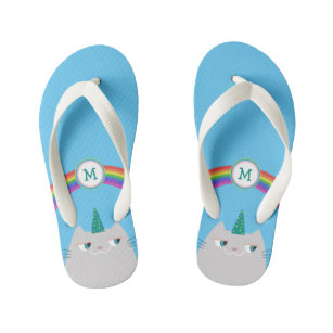 e7149c85e123 Cute Cartoon Cat Unicorn and Rainbow Blue Monogram Kid s Flip Flops