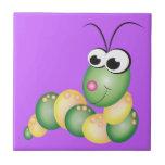 Cute Cartoon Caterpillar Small Square Tile