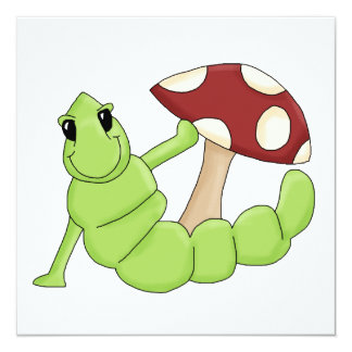 Cute Cartoon Caterpillar Worm Toadstool Design Invitation