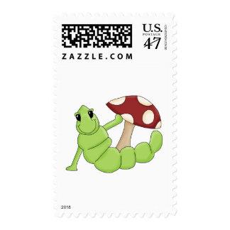 Cute Cartoon Caterpillar Worm Toadstool Design Postage Stamp
