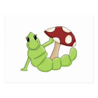 Cute Cartoon Caterpillar Worm Toadstool Design Postcard