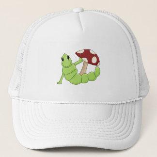 Cute Cartoon Caterpillar Worm Toadstool Design Trucker Hat