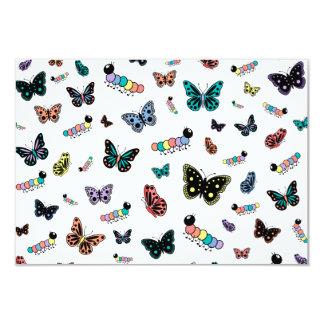 Cute Cartoon Caterpillars & Butterflies (Light) 3.5x5 Paper Invitation Card