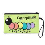 Cute Cartoon Caterpillars (Grass Green Background) Wristlet