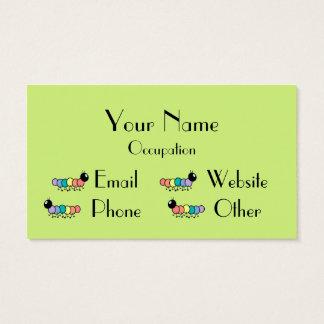 Cute Cartoon Caterpillars (Grass Green Background) Business Card