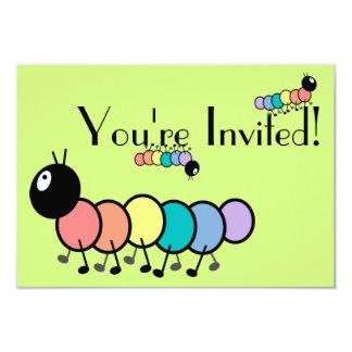 Cute Cartoon Caterpillars (Grass Green Background) Card