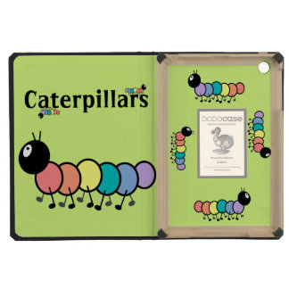 Cute Cartoon Caterpillars (Grass Green Background) iPad Mini Covers