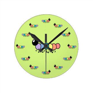 Cute Cartoon Caterpillars (Grass Green Background) Round Wall Clock