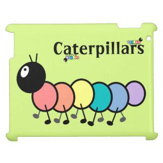 Cute Cartoon Caterpillars Grass Green Background iPad Cover