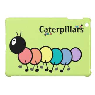 Cute Cartoon Caterpillars (Grass Green Background) Cover For The iPad Mini