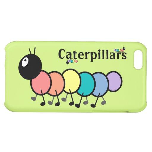 Cute Cartoon Caterpillars (Grass Green Background) iPhone 5C Cases