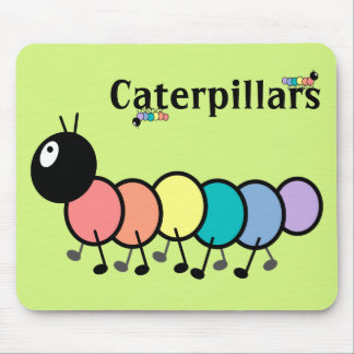 Cute Cartoon Caterpillars (Grass Green Background) Mouse Pad