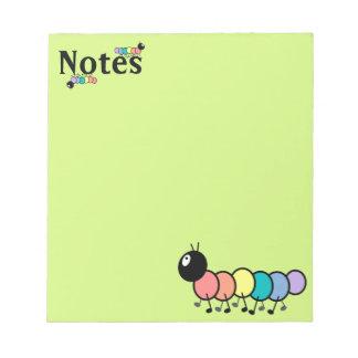 Cute Cartoon Caterpillars (Grass Green Background) Memo Pad