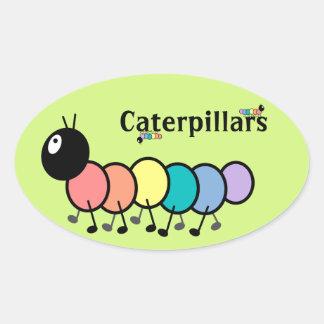 Cute Cartoon Caterpillars (Grass Green Background) Oval Sticker