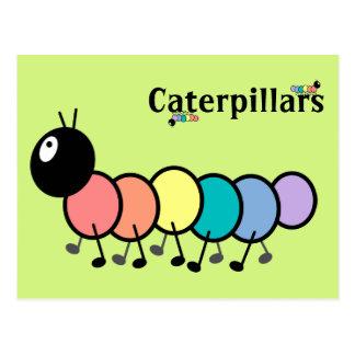 Cute Cartoon Caterpillars (Grass Green Background) Post Card