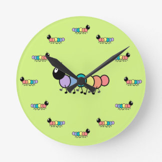 Cute Cartoon Caterpillars (Grass Green Background) Round Clock