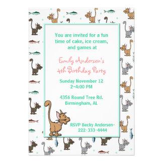 Cute Cartoon Cats Birthday Invitation