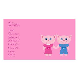 Cute Cartoon Cats Dating Service Pink Custom Business Card