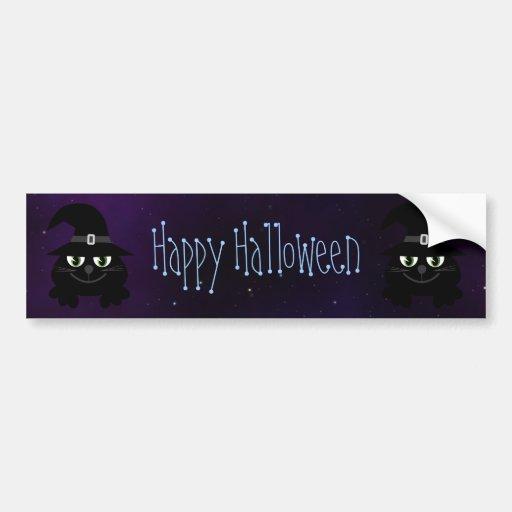 Cute Cartoon Cats Happy Halloween Magical Sky Bumper Stickers