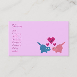 Dating service business cards templates zazzle cute cartoon cats hearts dating service custom business card colourmoves
