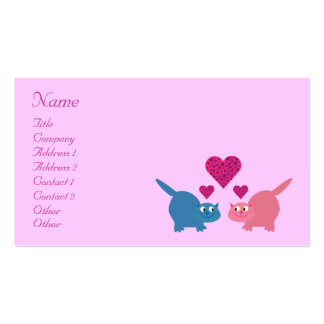 Cute Cartoon Cats & Hearts Dating Service Custom Business Card