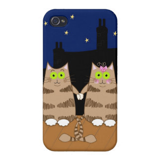 Cute cartoon cats holding hands covers for iPhone 4