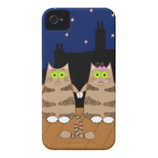 Cute cartoon cats holding hands iPhone 4 case