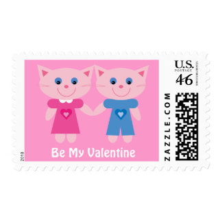Cute Cartoon Cats In Love Be My Valentine Postage Stamp