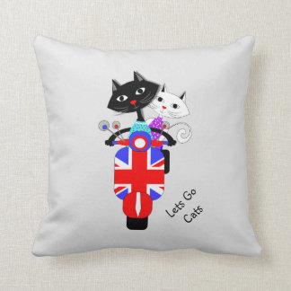 Cute Cartoon Cats On Union Jack Retro Scooter Throw Pillow